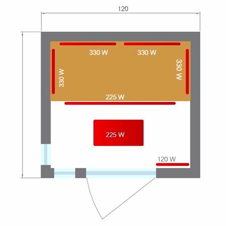 misure sauna infrarossi 2 posti