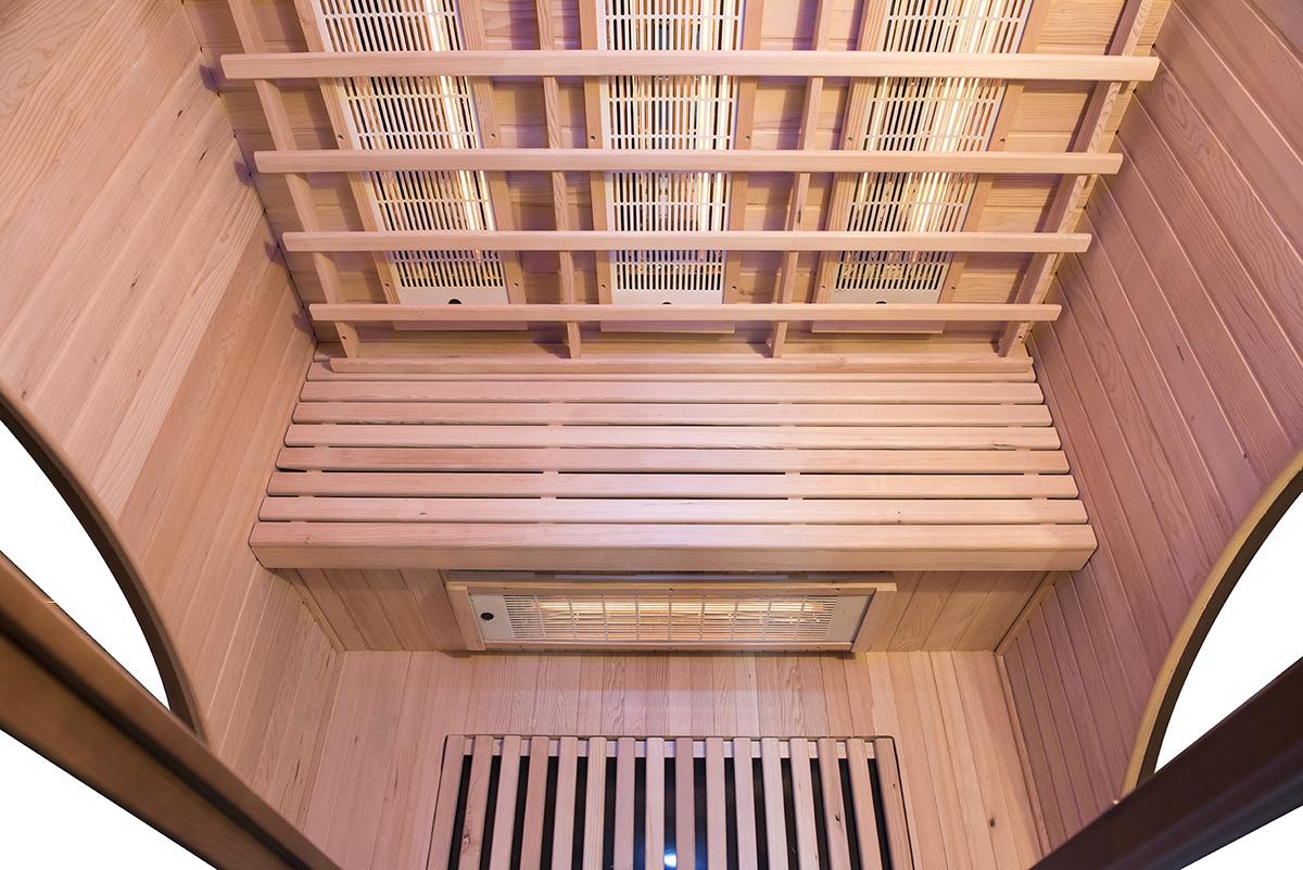 interno della sauna infrarossi 2 posti