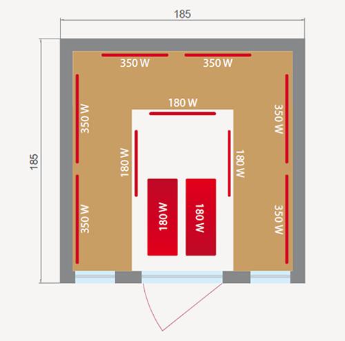misure della sauna infrarossi 4 o 5 posti Aira Club
