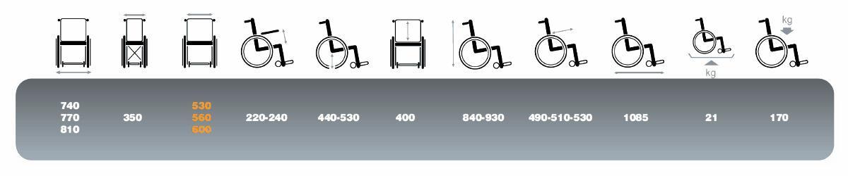 misure a caratteristiche tecniche della carrozzina bariatrica V300 XL