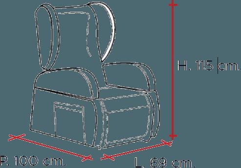misure di altezza, larghezza e profondità
