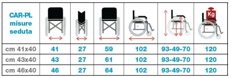 misure della sedia a rotelle leggera