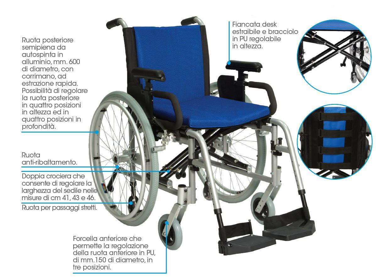 sedia a rotelle pieghevole alluminio