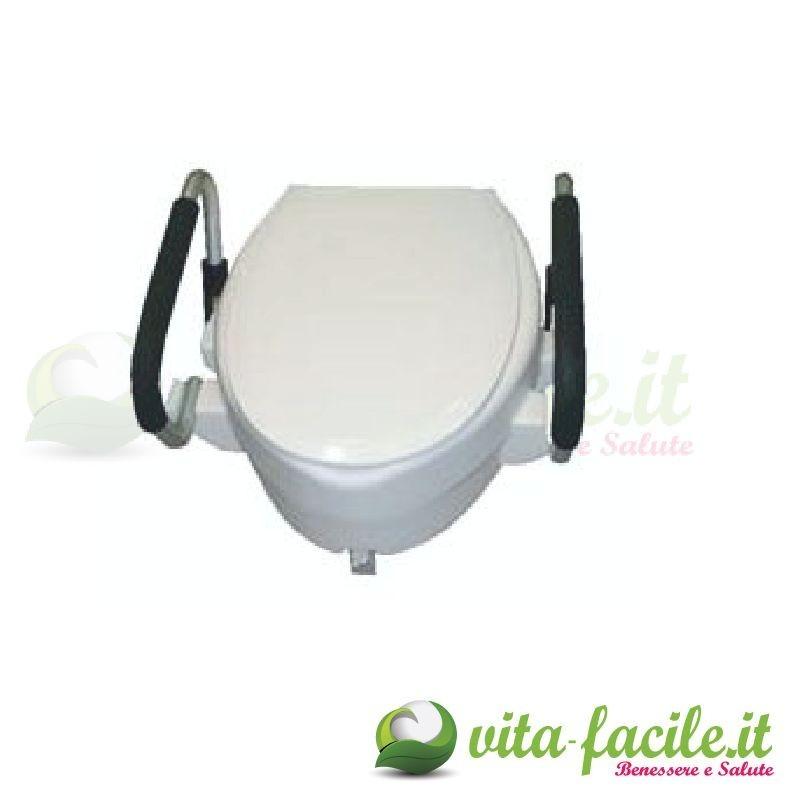 Rialzo per WC con coperchio 10 cm con braccioli ribaltabili