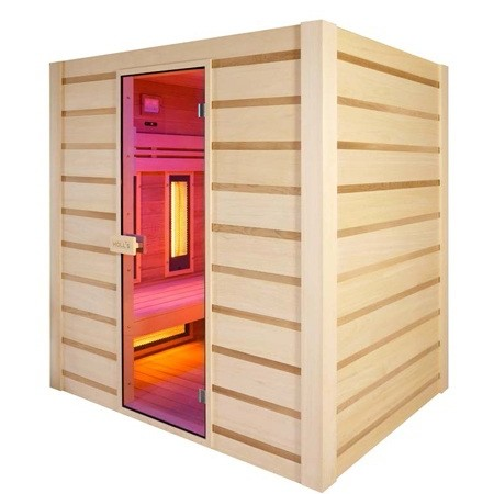 Sauna Holl S Hybrid Combi Combinata Infrarossi Al Quarzo E Vapore Finlandese 180 X 140 X 190 Cm