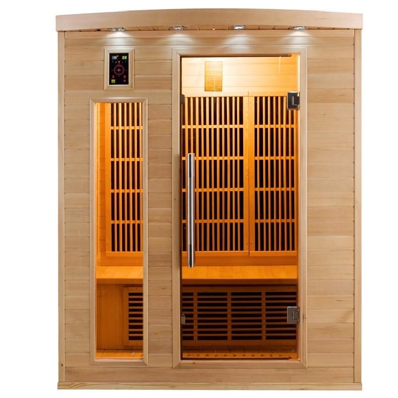 vista frontale della sauna infrarossi 3 posti Timo