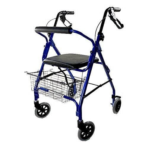 Deambulatore 4 ruote con freni pieghevole in alluminio ultraleggero con cestino incluso Kometa